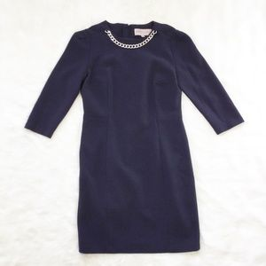 Philosophy Navy Sheath Dress Chain Neckline sz. 8